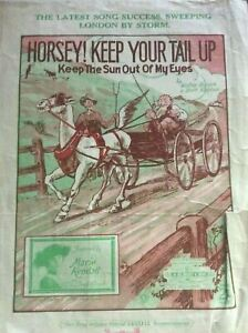 ANTIQUE SHEET MUSIC - HORSEY KEEP YOUR TAIL UP - KEEP THE SUN OUT OF MY EYES