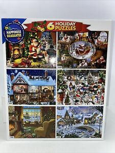 White Mountain Christmas Holiday 6 Jigsaw Puzzles 1000 500 300 Complete Santa