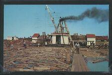 WI Ashland CHROME 1965 PULPWOOD HOIST & LOG POND Lake Superior by Teich No.E-130