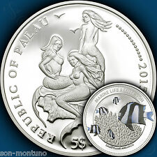2015 Palau $5 - WHITETAIL DAMSELFISH Marine Life Protection SILVER Mermaid Coin