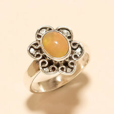 Natural Ethiopian Welo Fire Opal Ring 925 Sterling Silver Wedding Fine Jewelry