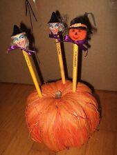 lot 3 pencils decorated w/ halloween witch pumpkin holder handmade teacher desk