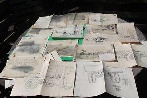 Original Artist  FOSTER CADDELL 15 Assorted  Pencil Proofs Trucks, Airplanes,Etc