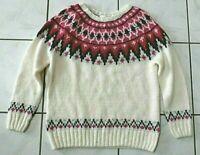 H&M fair isle scoop neck fuzzy fair isle sweater Ivory Pink Size Small EUC C181