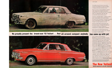 1963 C AD CHRYSLER 2 PAGE INSERT VALIANT MUDDY RED INTERIOR FEATURE BEACH POODLE
