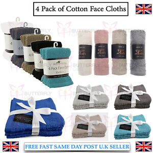 4 Pack cotton face towels cloth flannels wash cloths soft 30 x 30 cm New