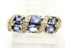 Round Diamond Right Hand Ring 1.24ct 10k Yellow Gold Oval Tanzanite and