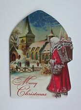 *PUNCH STUDIO Set of 4 Die Cut Blank Christmas Note Cards ~Church ~Christmas Eve