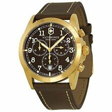 BLEM Victorinox 241647 Infantry Chronograph Brown Dial Leather Strap Mens Watch
