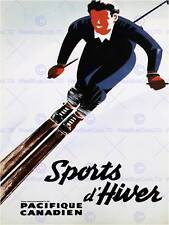 TRAVEL TOURISM WINTER SPORT CANADIAN PACIFIC SKIING CANADA VINTAGE POSTER 2570PY