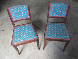 chaise ancienne 1950 bois rembourrée tissu