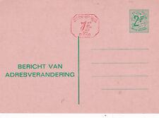 Belgium 2f+1f Change of Adress Postcard (Dutch language) Unused VGC