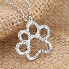 V.G Dog Paw Footprint Silver Tone Crystal Pendant Necklace Chain Women's Jewelry