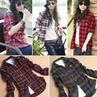 Women Button Down Lapel Shirt Plaids & Checks Flannel Shirts Tops Blouse T OO55