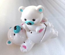 2008 Fisher Price White Spinning Kicking Noise Mommy Baby Polar Bear Toy Works