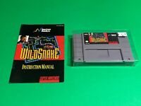 💯 WORKING 🔥 SUPER NINTENDO SNES GAME 🔥 WILDSNAKE + MANUAL 🔥 SUPER FUN