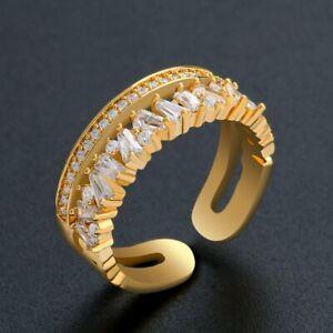 925 Sliver Geometric Crystal Zircon Finger Knuckle Ring Gold Open Rings Women