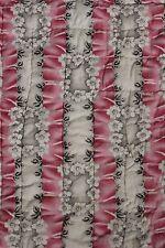 Antique French quilt boutis c 1850 pink floral grid /  purple 93X89 large