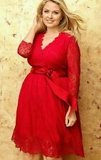 LANE BRYANT WOMEN'S PLUS SIZE RED 7/8 SLEEVE BELTED LACE LINED DRESS Sz 28