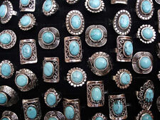 New wholesale jewelry lots 10pcs natural turquoise stone silver plated rings