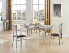 TERRANOVA ELEGANT STUNNING SILVER DINING TABLE MARBLE FURNITURE
