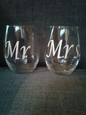 Mr.& Mrs. Wine Glass Tumblers Cups Bride Groom Wedding Decorations reception new