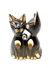 Decorative Wooden Cats Kissing Figurines Statue Sculpture Cat Lover Gift 5x4""