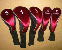 Calibre Set of 5 Long-Neck Acrylic Headcovers (460cc #1, 3W, 5W, Hybrid 4 & X)