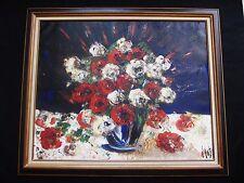 """Exceptionnelle   huile par Henri D'Anty1910-1998 """" le vase de fleurs  81x100"""""""