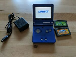 Nintendo Game Boy Advance SP Cobalt Handheld System + Games