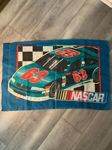 Vintage Nascar Pillowcase Two Sided Case Number 53 63 Red Green Stock Cars