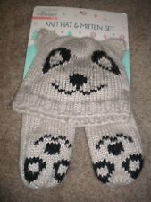 Acc 00004000 essory Collective Kids Animal tan knit bear hat with matching mittens Nwt