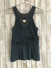 Anthropologie DELETTA Blue Gray Keyhole Beaded Tank Top S Small * DRESSY!