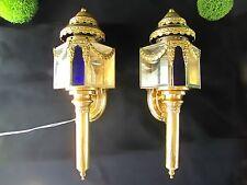 Antique Coach Lights Louis XV Style Vintage Gold Brass Carriage Lamps Sconces