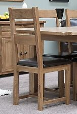 Tilson solid rustic oak furniture set of four leather seat dining chairs