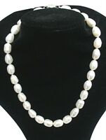 Stunning Cultured Freshwater Large 10-11mm White Baroque Pearl necklace