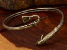 "Good Luck Dolphin Wrap-Around Bypass Cuff Bracelet (size 6.5"") 10.5g"