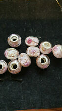 10 PINK GLASS BEADS WITH PINK ROSES
