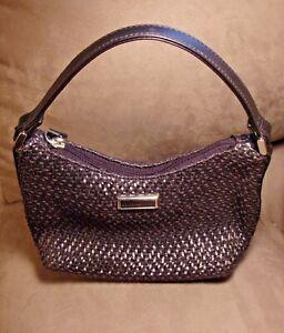 Liz Claiborne Small Handbag. Woven. Pink Liner With green Ferns.