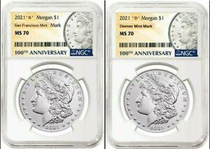 2021 Morgan Silver Dollar - NGC MS 70 -  ' S '  & ' D ' Mint Mark - PreSale!