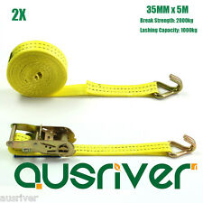 2Pcs Pack 35MMx5M 1000kg High Strength Ratchet Tie Down Strap Coverack 3510JD5