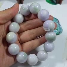 Fine Natural Type A Lavender Jadeite Jade Round Bead Bracelet Bangle 18mm