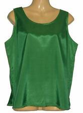 Ladies Thai Silk Sleeveless Blouse / Large / Green  / UK 16 / FREE UK POST