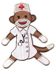 Sock Monkey NURSE - White Coat/Stethoscope Iron on Applique/Embroidered Patch