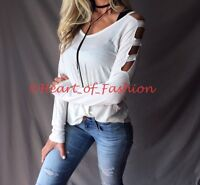 Women's Ivory Cold Shoulder Ladder Cutout Sleeve Relaxed Fit Casual V-Neck Top L