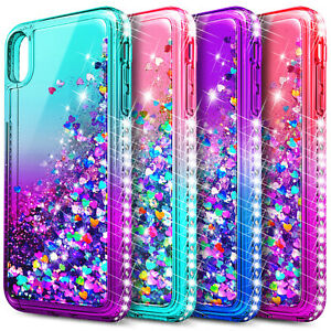 Case For iPhone X XR XS Max Liquid Glitter Cute Girl Women Cover +Tempered Glass