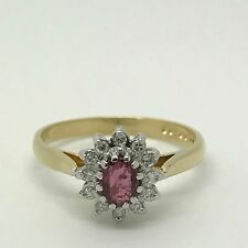 Ruby & Diamond Cluster Ring - 18ct Yellow Gold - Ideal Engagement -Size N -3.00g