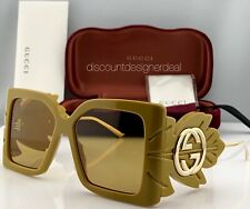 Gucci Square Oversized Sunglasses GG0535S 004 Yellow Frame Gold Yellow Lens NEW