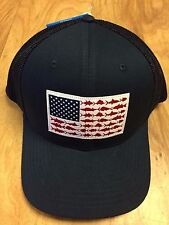 NEW COLUMBIA PFG MESH HAT CAP - FLEX-FIT - NAVY BLUE - FLAG - S/M - HOT