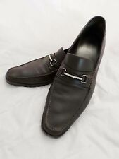 BALLY Switzerland Marano brown leather ribbon horsebit loafers 12D